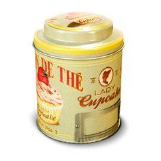 """Natives , Vintage, Dóza na čaj """"Lady cupcake"""" 9x11.5 cm, plech, 211148"""