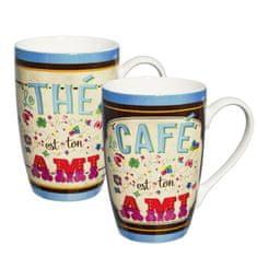 "Natives , Vintage, Šálky káva čaj XL sada 2ks ""Ton Ami"" 8,5x13 cm, 450ml, porcelán, 610300"