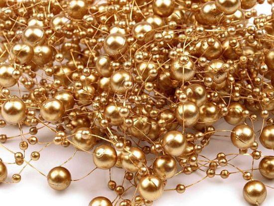 Kraftika 4ks zlatá perly na silonu ø7mm délka 130cm