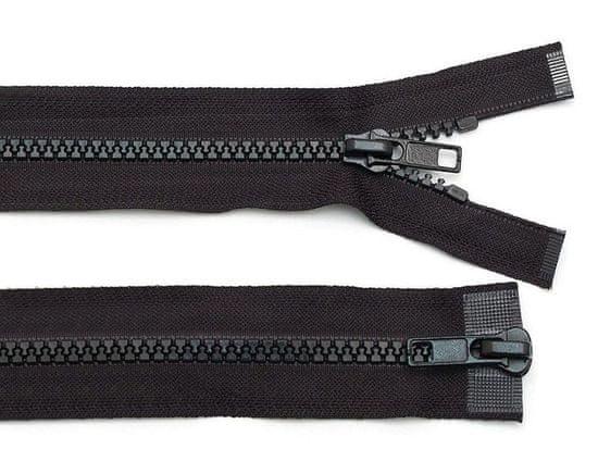 Kraftika 1ks black zip kostěný 5mm dělitelný 2 jezdce 90cm bundový