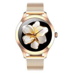 NEOGO SmartWatch Glam Pro, dámske smart hodinky, zlaté/kovové