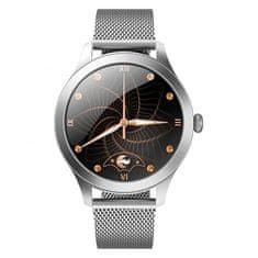 NEOGO SmartWatch Glam Pro, dámské chytré hodinky, stříbrné/kovové