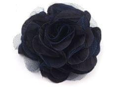 Kraftika 1ks 12 modrá pařížská brož / ozdoba růže ø9cm