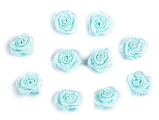 Kraftika 10ks 25 mint saténová růžička ø10mm, saténové růže našití
