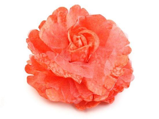 Kraftika 1ks korálová sv. brož / ozdoba růže ø8cm, textilní brože