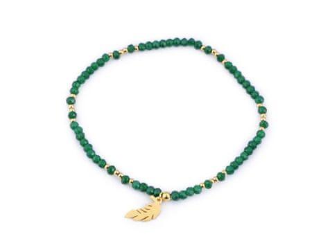 Kraftika 1db fenyő zöld arany mag gyöngyök karkötő rozsdamentes acél