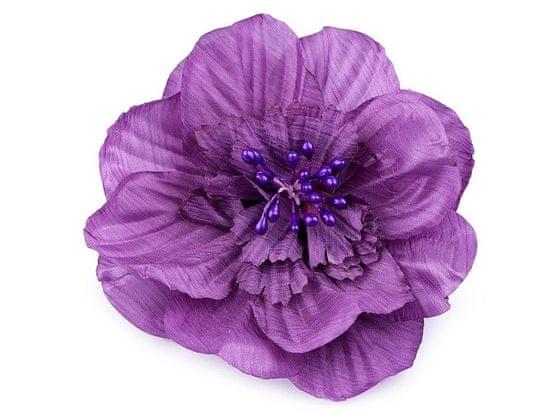 Kraftika 1ks fialková brož / ozdoba růže ø10cm, textilní brože