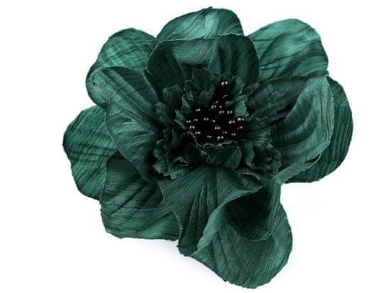Kraftika 1ks zelená tmavá brož / ozdoba růže ø10cm, textilní brože
