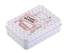 Kraftika 1ks šedá nejsv. plechová krabička na šití, košíky kazety