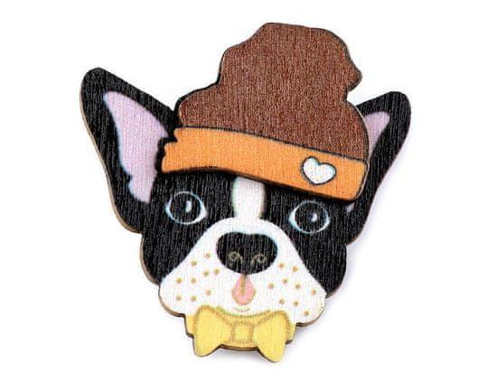 Kraftika 1ks 5 černá pejsek dřevěná brož liška, pes, lenochod
