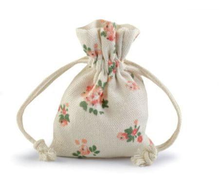 Kraftika 2db cru könnyű pamut string táska virágokkal 10x12cm