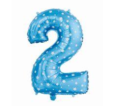 GoDan Fóliový balón číslo 2 s hvězdičkami - modrá - 65 cm