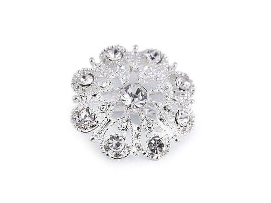 Kraftika 1ks crystal květ brož / svatební ozdoba na kytice s