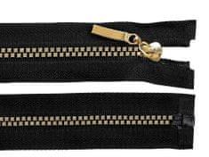 Kraftika 1ks (322) černá zlatá kostěný zip šíře 5mm délka 80cm
