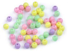 Kraftika 100ks 3 mix plastové korálky ø6mm color mix, neprůhledné
