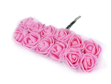 Kraftika 1pęk różowy średni różyczki na druciku z tiulem półprodukt