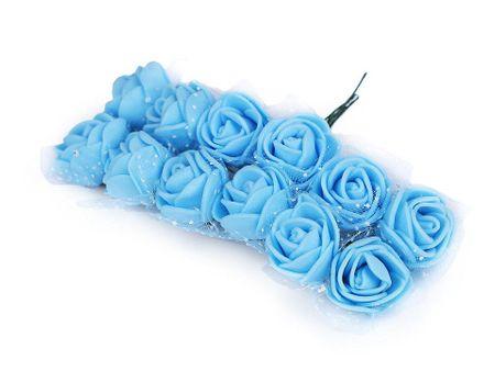 Kraftika 1bunch azúrkék kék rózsa drót diy boutonniere ø25mm