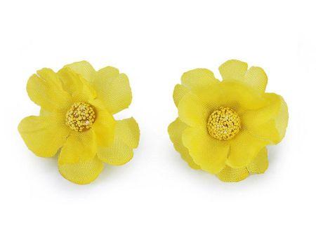 Kraftika 5szt żółty sztuczny kwiat ø35mm, sztuczne kwiaty ozdobne