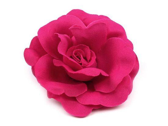 Kraftika 1ks fuchsiová tm. brož / ozdoba růže ø6cm, vlasů, ozdoby