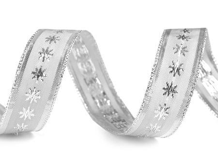 Kraftika 25m ezüst karácsonyi vezetékes szalag csillagszélességgel