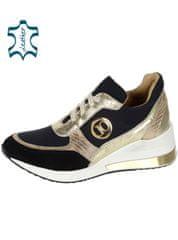 Zlato čierne dámske tenisky s ozdobný lemovaním na podošve KAMILA DTE3063- Olivia shoes