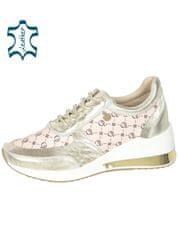 Zlato biele dámske tenisky s potlačou OL na podošve KAMILA 3055 OLIVIA SHOES