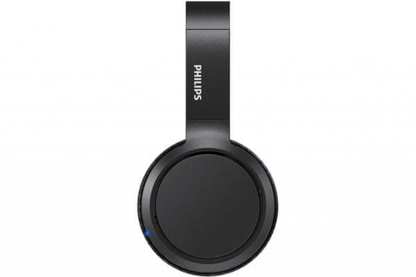 moderní elegantní bezdrátová sluchátka philips tah5205 bluetooth 5.0 nastavitelný hlavový oblouk naplocho složitelná výborný zvuk zesílení basů 40mm měniče možnost připojení audio kabelem s 3,5mm jackem lehounká mobilní aplikace pro nastavení sluchátek