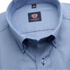 Willsoor Pánská slim fit košile London (výška 188-194) 6260 v modré barvě a formulí Easy Care