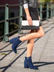Vinceza Pohodlné kotníčkové boty modré dámské na širokém podpatku