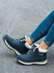 Originální dámské trekingové boty modré na plochém podpatku
