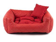 Vsepropejska Delux červený kožený pelech pro psa s polštářkem Rozměr: 55 x 45 cm