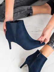 Moderní dámské kotníčkové boty modré na jehlovém podpatku