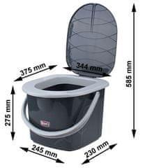 BRANQ WC vedro 15,5l - čierne-P1305-BL