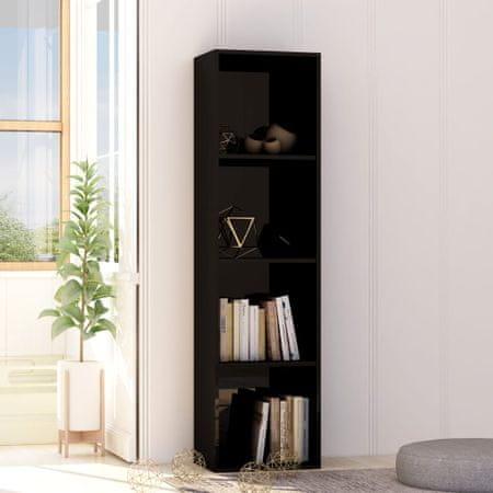 shumee Knjižna omara visok sijaj črna 40x30x151,5 cm iverna plošča