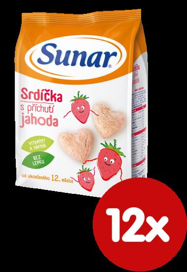 Sunar Jahodové srdiečka pre prvé zúbky 12x50g