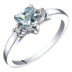 Eppi Akvamarínové srdce ve zlatém prstenu s diamanty Kira R36527