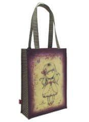 Santoro Gorjuss nakupovalna torba, 25x35x9,5 cm, prevlečena s PVC, rdeče-vijolična
