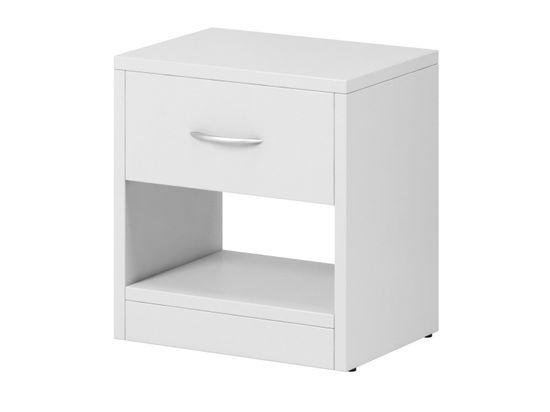 Noční stolek LANGSTON 1S, bílý mat