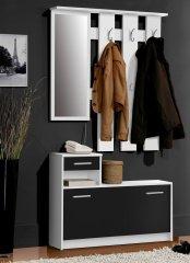 Nejlevnější nábytek Předsíňová stěna DELMAR, bílý mat/černý mat, 5 let záruka
