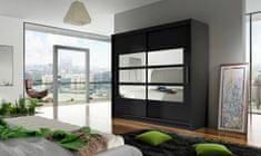 Šatní skříň GAMBA III, černý mat/zrcadlo