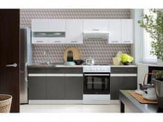 Nejlevnější nábytek Kuchyně JAMISON 180/240 cm, korpus bílý/dvířka bílý lesk, šedý wolfram