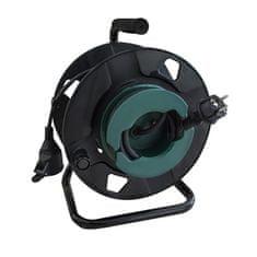 Solight prodlužovací přívod na bubnu, 1 zásuvka, venkovní, 50m gumový kabel, 3x 1,5mm2, IP44