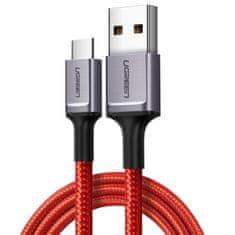 Ugreen nylonový nabíjecí / datový kabel USB / USB-C ze slitiny hliníku 1m červená