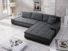 Nejlevnější nábytek Rohová sedačka SALAR L univerzální, černá látka prošitá bílou a šedou nití/černá ekokůže