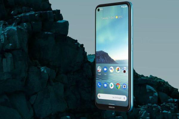 moderní mobilní dotykový telefon smartphone Nokia 3.4 bluetooth wifi nifc google assistant 4000mah baterie lte síť dual sim microsdxc karta hd+ displej13 13 5 2 mpx zadní fotoaparát 8mpx přední fotoaparát zadní blesk android 10 stylový design á la fjord