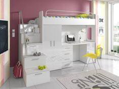 Nejlevnější nábytek Patrová postel se skříní a psacím stolem NASH 4S, bílá/bílý lesk