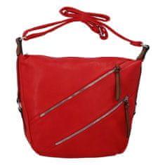 Paolo Bags Praktická dámska koženková crossbody Smilja, červená