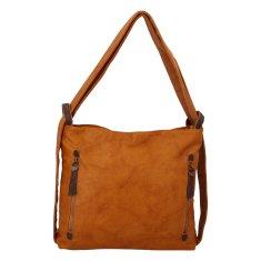 Paolo Bags Moderný koženkový kabelko batoh Lenka Stylish, hnedý