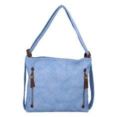 Paolo Bags Moderný koženkový kabelko batoh Lenka Stylish, svetlo modrý