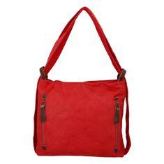 Paolo Bags Moderný koženkový kabelko batoh Lenka Stylish, červený